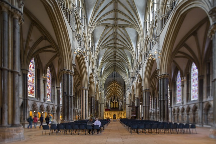 Leading inside Lincoln Cathedral